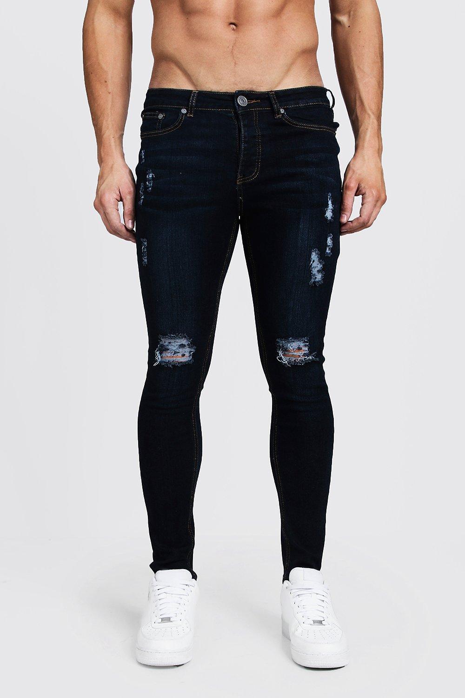 Ripped Knee Spray On Skinny Jeans