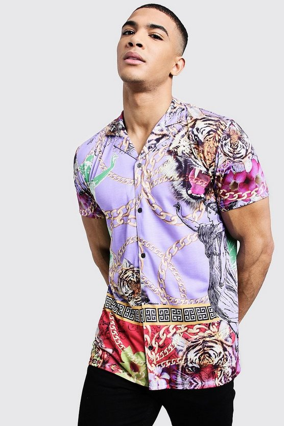 Mens Purple Lion Print Short Sleeve Revere Shirt