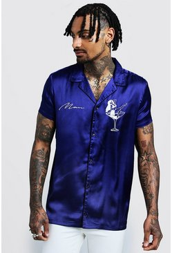 Mens Blue Short Sleeve Satin Shirt With MAN Embroidery
