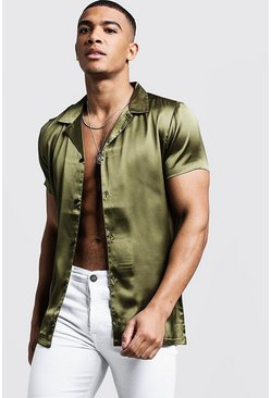 Khaki Short Sleeve Revere Satin Shirt