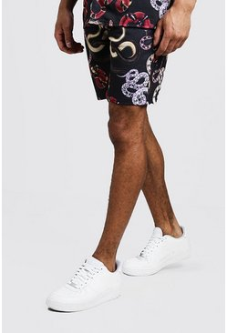 Mens Black Snake Print Shorts