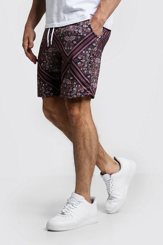 Mens Black Tile Print Short