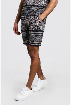 Mens Brown Animal Paisley Border Print Shorts