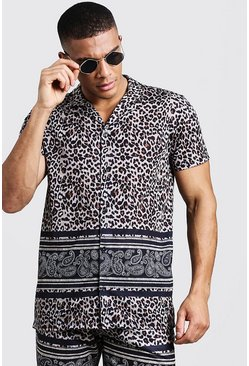 Mens Brown Animal Paisley Border Short Sleeve Revere Shirt
