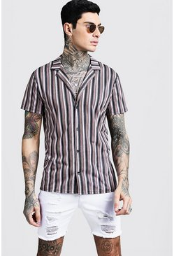 Mens Black Vertical Stripe Short Sleeve Revere Jersey Shirt