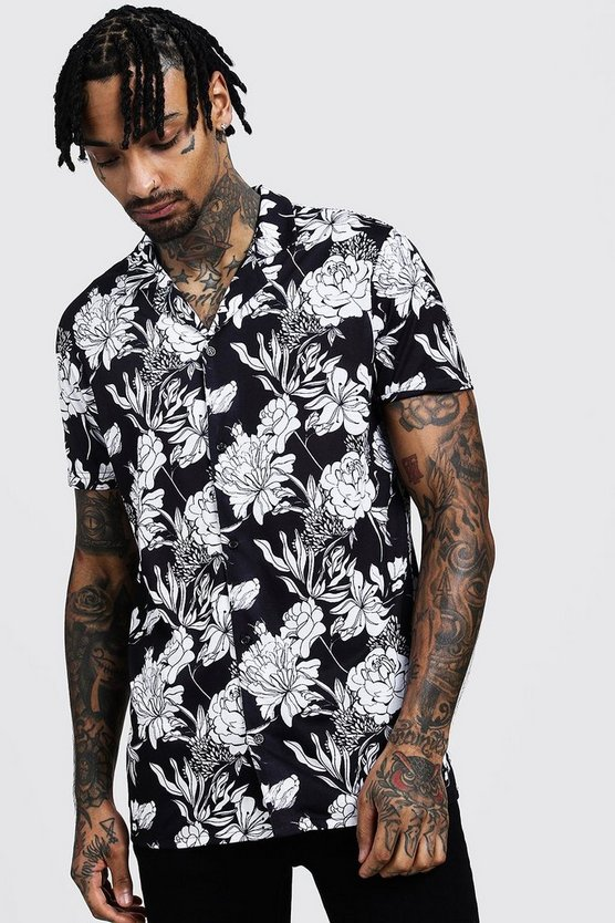 Mens Black Mono Floral Print Short Sleeve Revere Shirt