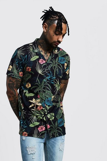 350738ca Hawaiian Shirts For Men | Mens Tropical & Aloha Shirts | boohoo UK
