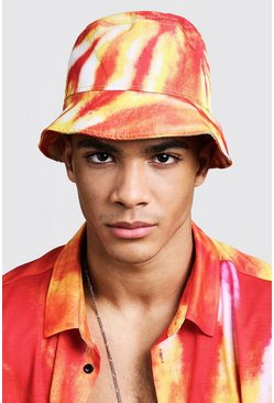 Mens Orange Tie Dye Print Bucket Hat