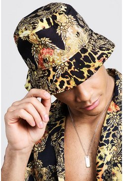 Mens Gold Leopard and Chain Print Buckle Hat