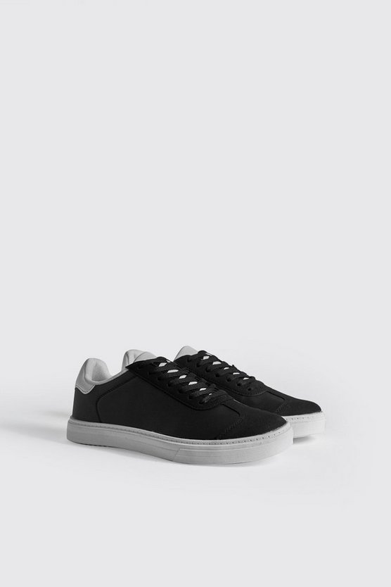 Mens Black Contrast Sole Sneaker With Black Tab Detail