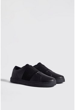 Mens Black Elastic Detail Sneaker