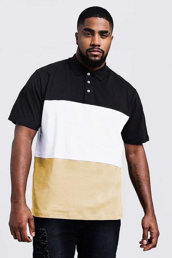 Mens Mustard Big And Tall Colour Block Polo Shirt