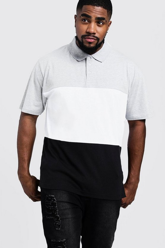 Mens Grey marl Big And Tall Colour Block Polo Shirt