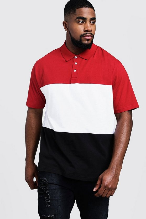 Mens Red Big And Tall Colour Block Polo Shirt