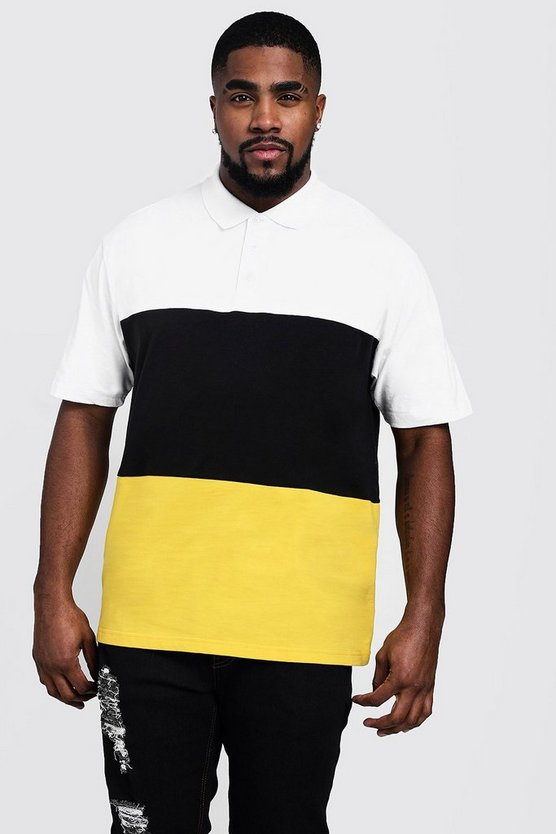 Mens Black Big And Tall Colour Block Polo Shirt