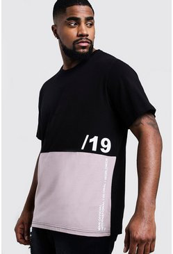 Mens Dusky pink Big And Tall Colour Block T-Shirt