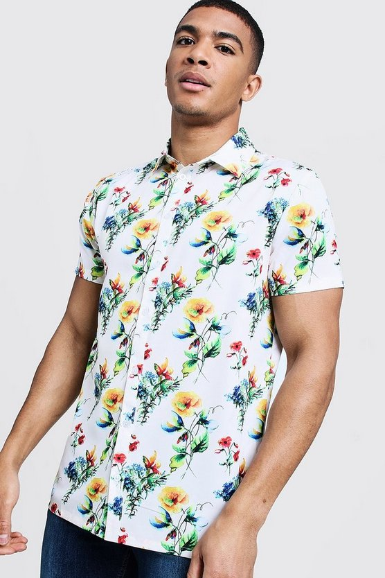 Mens Stone Floral Print Short Sleeve Shirt