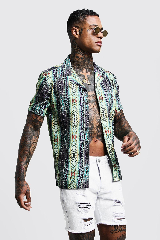 Abstract Print Short Sleeve Revere Shirt