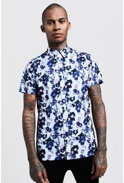 Mens White Painted Floral Print Short Sleeve Shirt