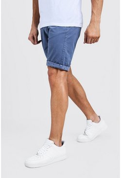 Mens Blue Slim Fit Chino Shorts With Printed Turn Ups