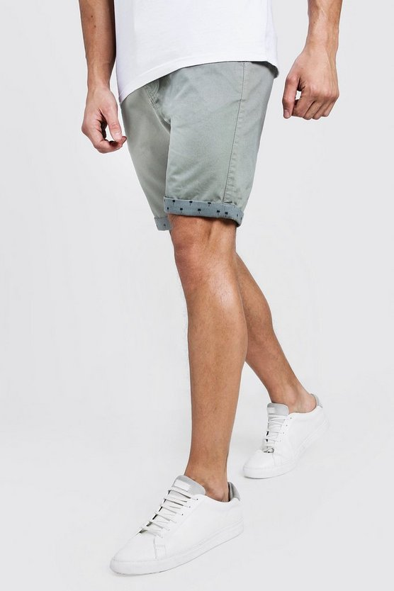 Mens Sage Slim Fit Chino Shorts With Printed Turn Ups