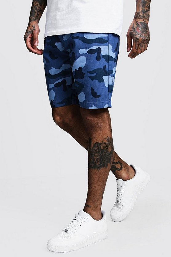 Mens Blue Slim Fit Cotton Camo Shorts