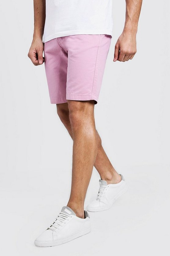 Mens Pastel pink Slim Fit Cotton Chino Shorts