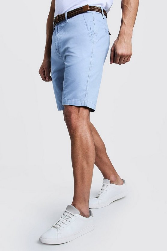 Pale blue Slim Fit Cotton Chino Shorts