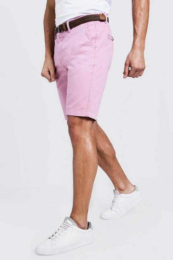 Mens Pale pink Slim Fit Cotton Chino Shorts With Belt