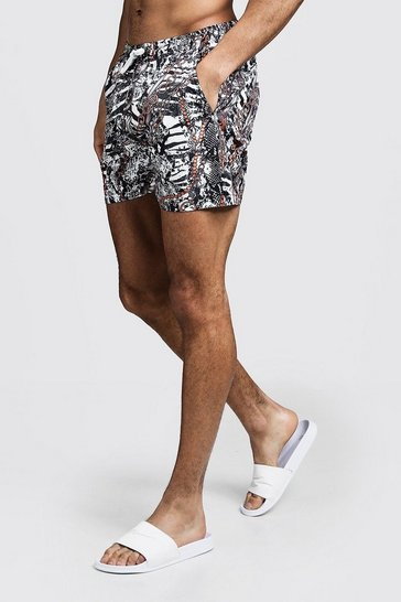 Mens White Snake Chain Print Swim Shorts