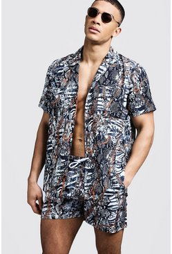 Mens White Snake Chain Print Revere Relaxed Shirt
