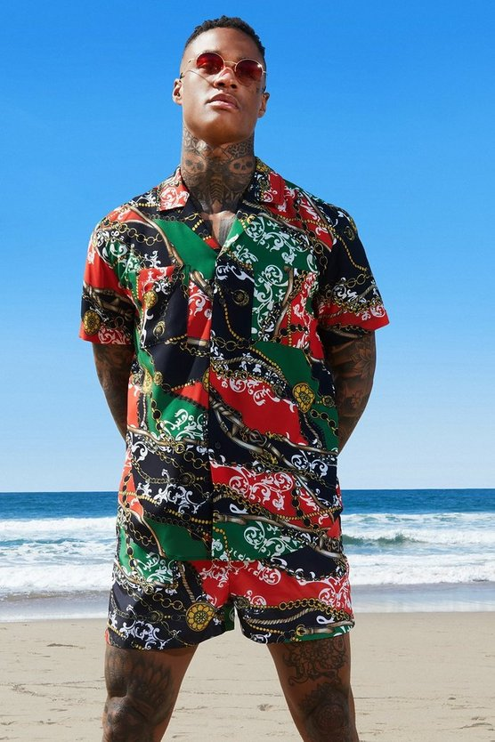 Red Chain Print Revere Relaxed Shirt