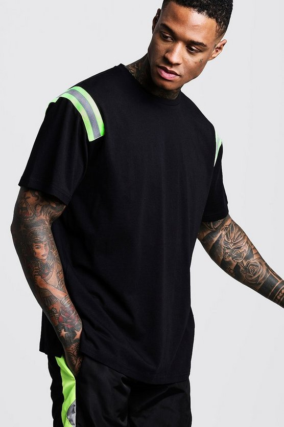Loose Fit Velour T-Shirt With Neon Tape