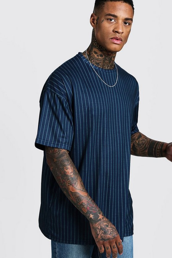 Mens Teal Oversized Pinstripe T-Shirt