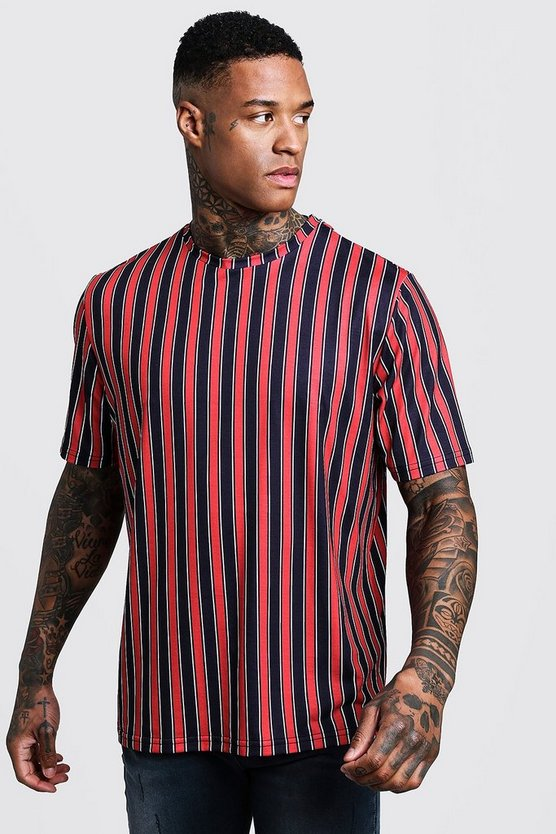Vertical Stripe Boxy Fit T-Shirt