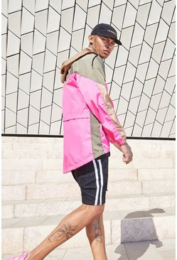 Mens Pink Colour Block Half Zip Cagoule