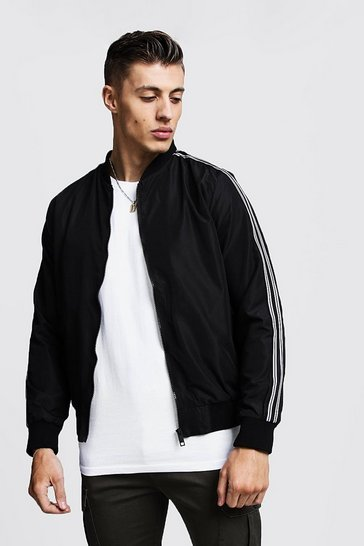 Mens Black Bomber With Stripe Taping Detail