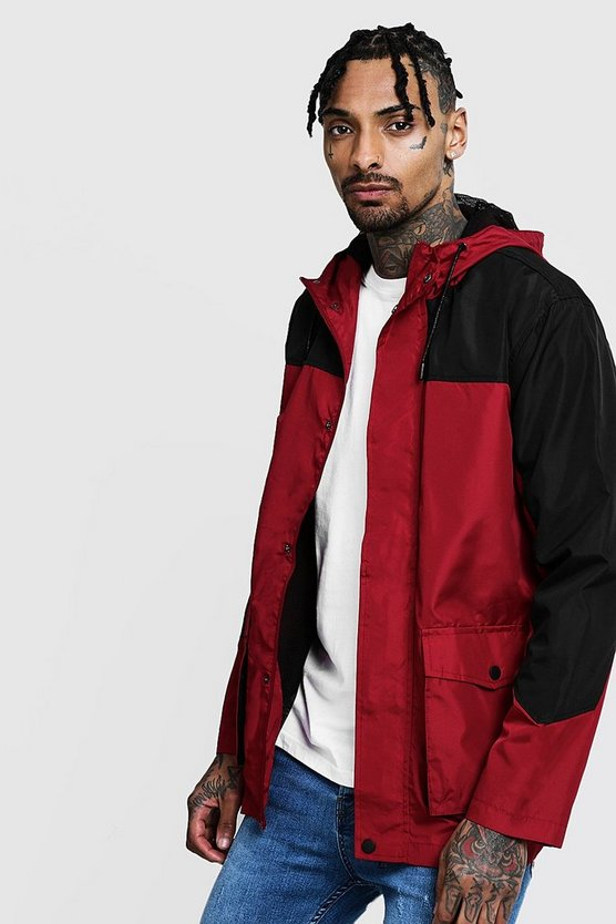 Mens Red Colour Block Windbreaker