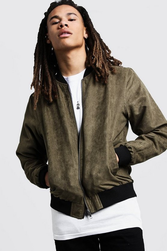 Mens Olive Peached Bomber Jacket