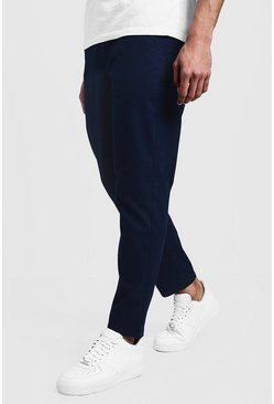 Mens Navy Slim Fit Chino Trouser With Drawcord Waist