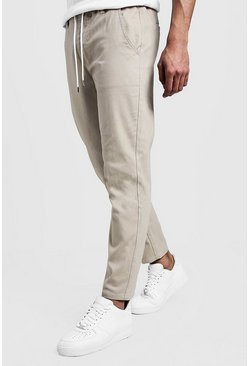 Mens Stone Slim Fit Chino Trouser With Drawcord Waist