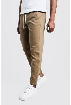 Mens Camel Slim Fit Chino Pants With Drawcord Waist