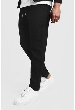 Mens Black Slim Fit Chino Trouser With Drawcord Waist