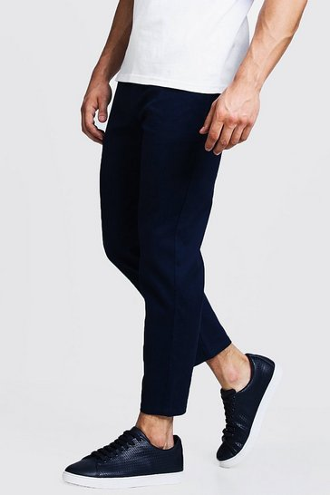 Mens Navy Slim Fit Cropped Chino Trouser