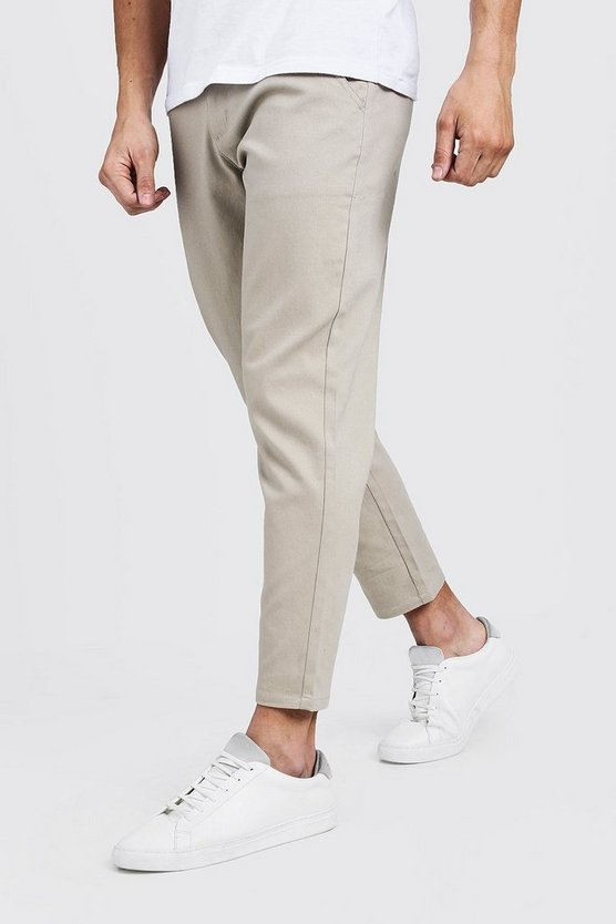Mens Stone Slim Fit Cropped Chino Trouser