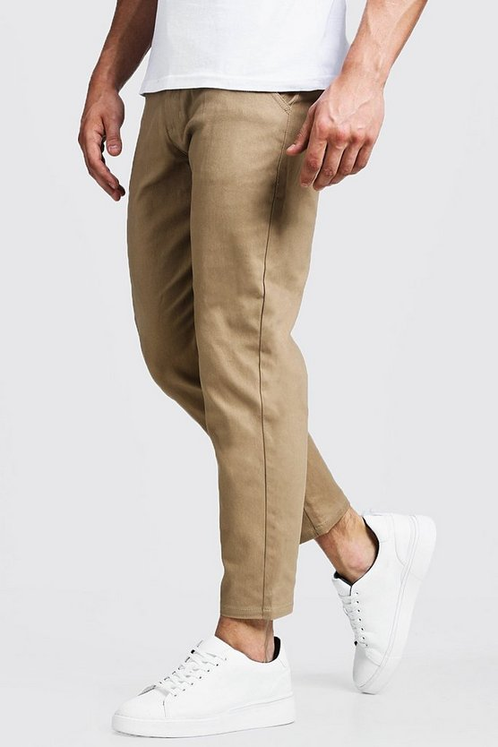 Mens Camel Slim Fit Cropped Chino Trouser