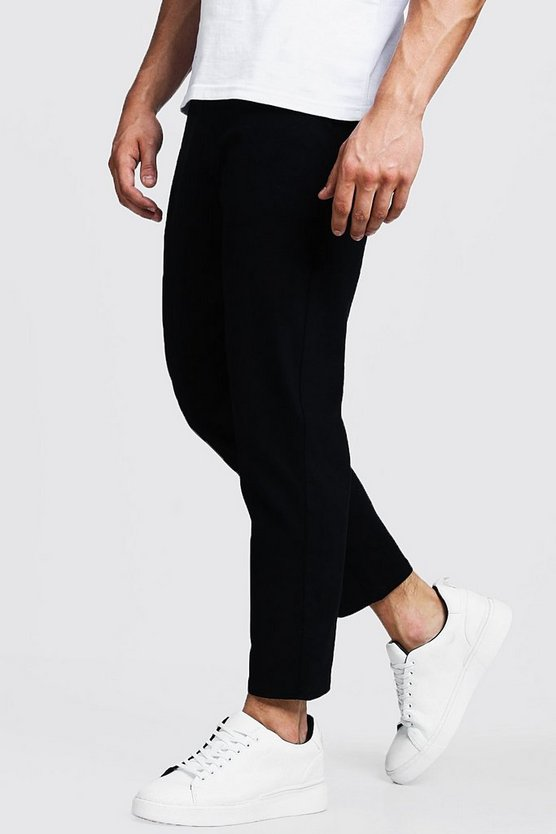 Mens Black Slim Fit Cropped Chino Trouser