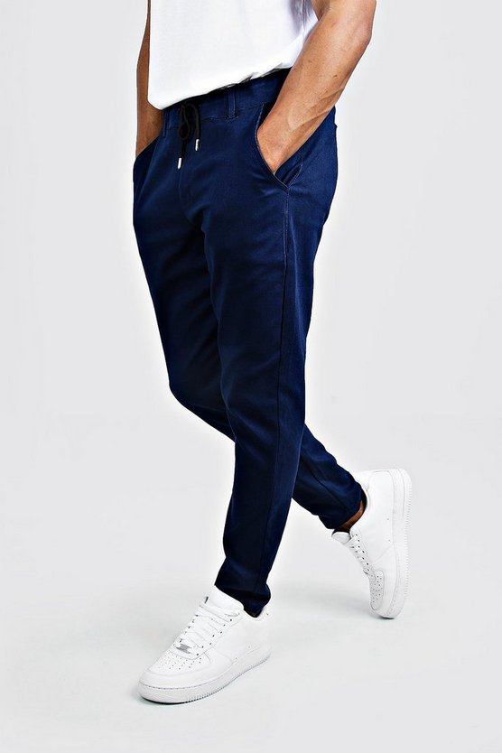 Mens Navy Skinny Fit Chino Trouser With Drawcord Waist