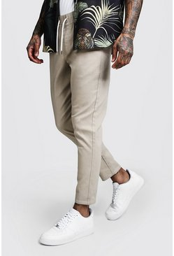 Mens Stone Skinny Fit Chino Trouser With Drawcord Waist