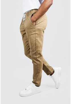 Mens Camel Skinny Fit Chino Pants With Drawcord Waist